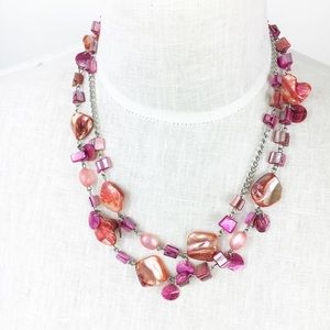 Jewelry - Pink Shell Necklace Double Strand Iridescent